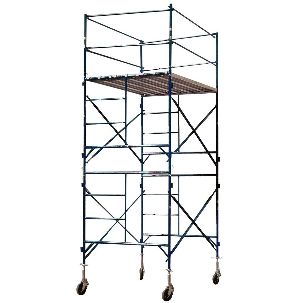 PRO-SERIES 12 ft. x 7 ft. x 5 ft. 2-Story Commercial Grade Rolling Scaffolding Tower 1,500 lb. Load Capacity
