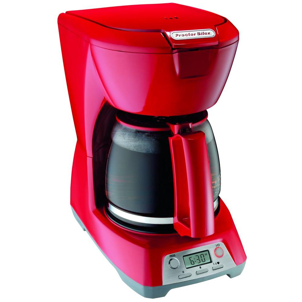 Proctor Silex 12-Cup Programmable Coffeemaker in Red-DISCONTINUED