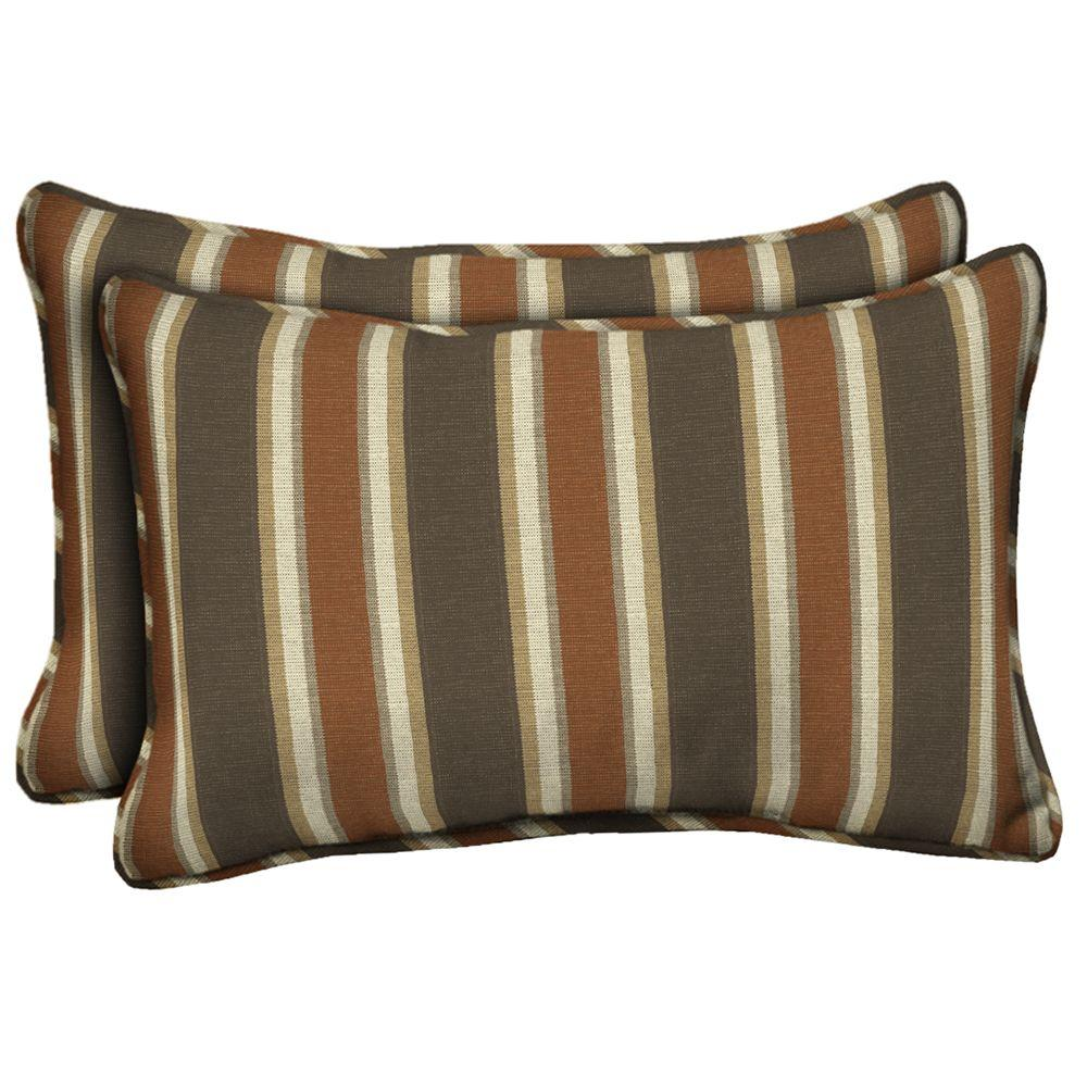 Scottsdale Stripe Lumbar Outdoor Pillow (2-Pack)