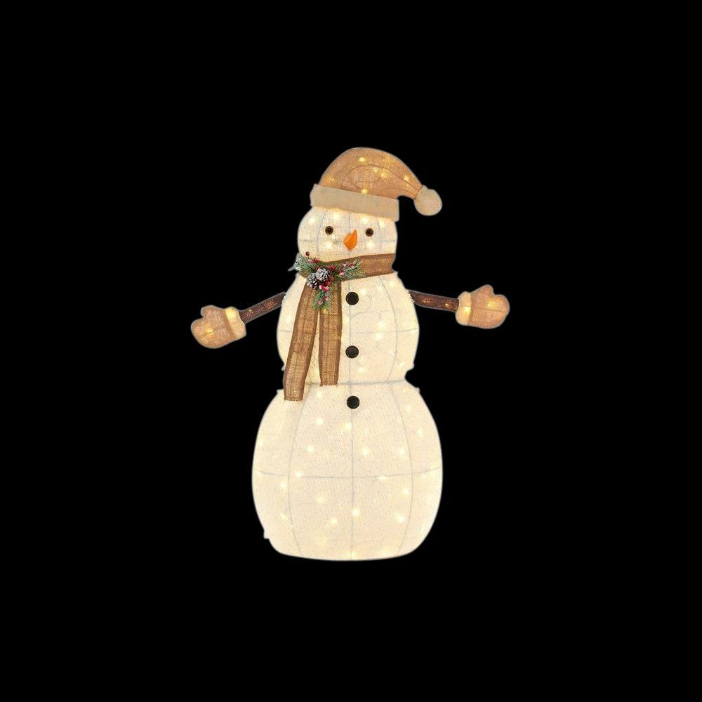 Home Accents Holiday 46.75 in. LED Lighted Cotton Snowman-TY163-1614-1 - The