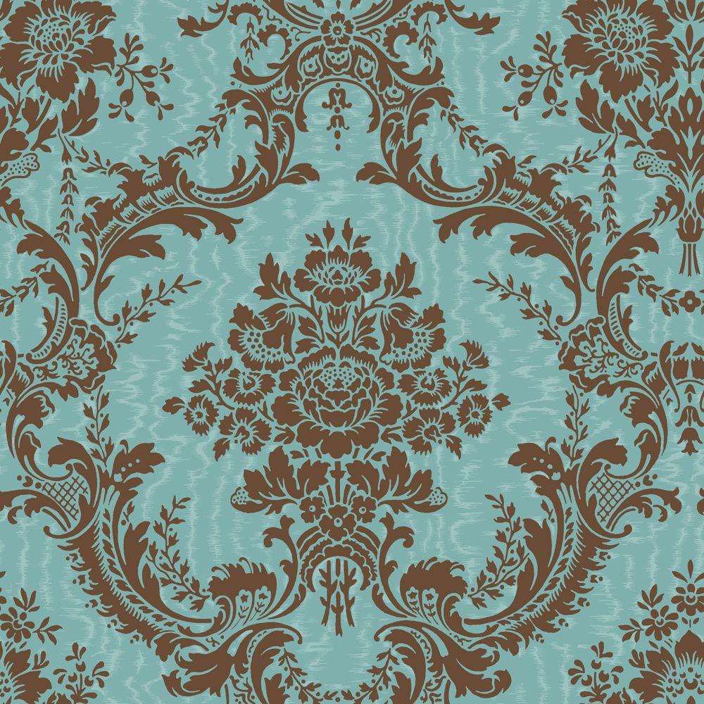 The Wallpaper Company 56 sq. ft. Brown and Blue Mid-Scale Damask on a Moire Ground Wallpaper