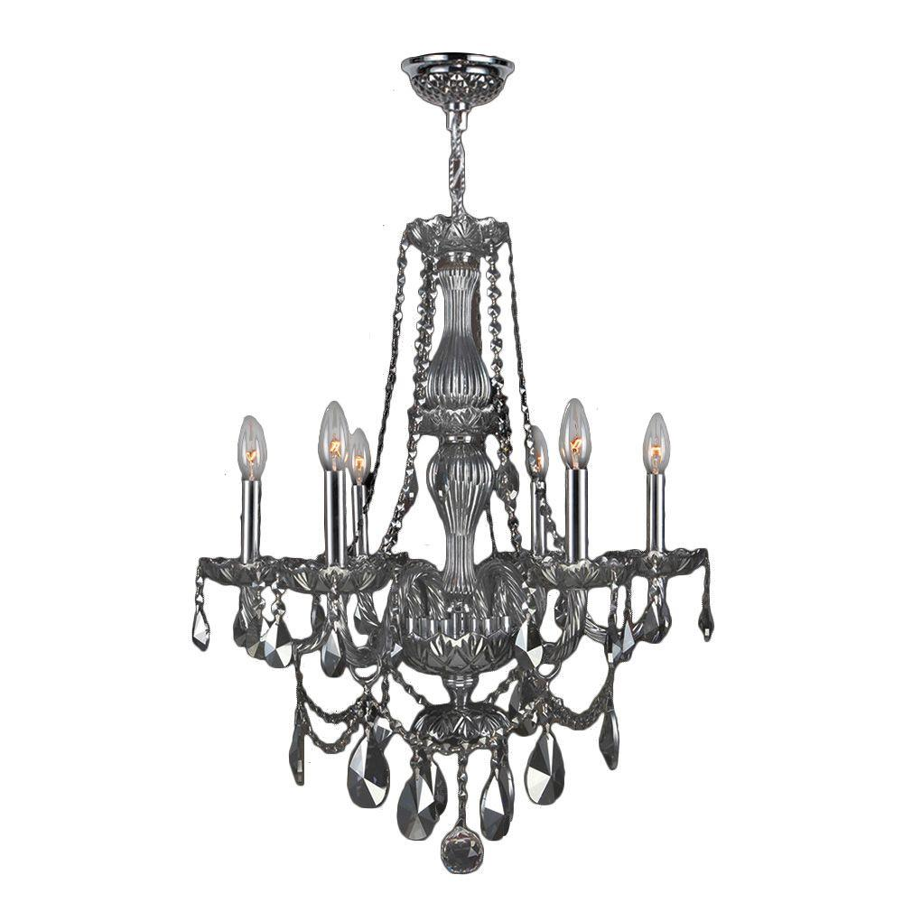 Provence Collection 6-Light Chrome and Smoke Crystal Chandelier