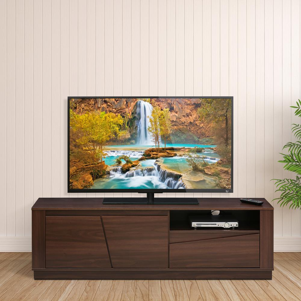 FVR Walnut 2-Doors and 1-Drawer Entertainment Center