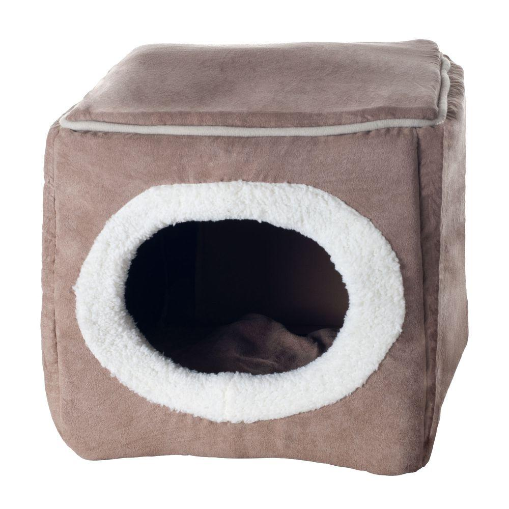 Small Coffee Cozy Cave Enclosed Cube Pet Bed