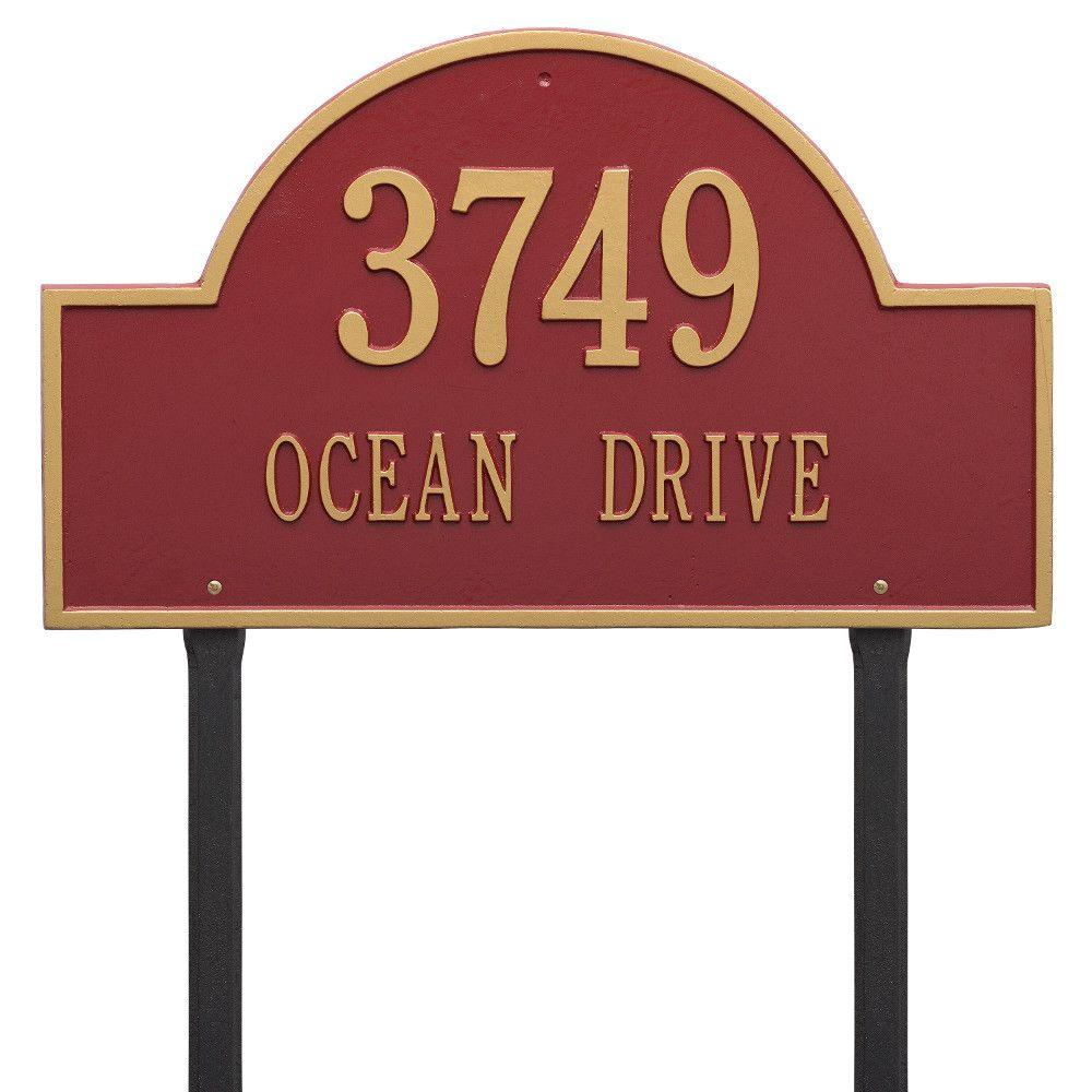 Arch Marker Estate Red/Gold Lawn 2-Line Address Plaque