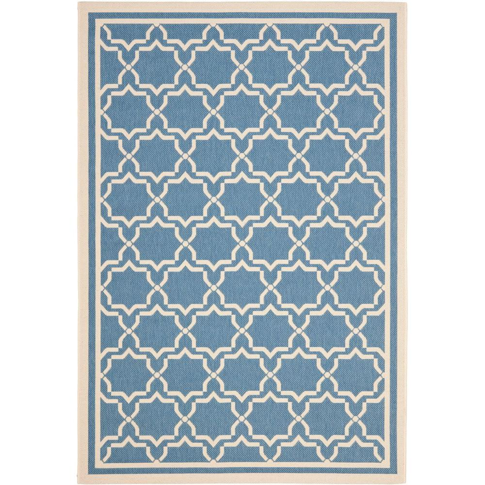Courtyard Blue/Beige 4 ft. x 5 ft. 7 in. Indoor/Outdoor Area