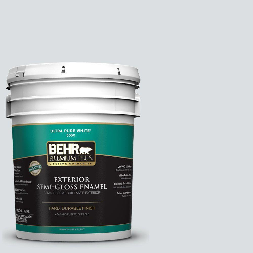 Interior Paint, Exterior Paint & Paint Samples: BEHR Premium Plus Paint 5-gal. #720E-1 Reflecting Pool Semi-Gloss Enamel Exterior Paint 505005