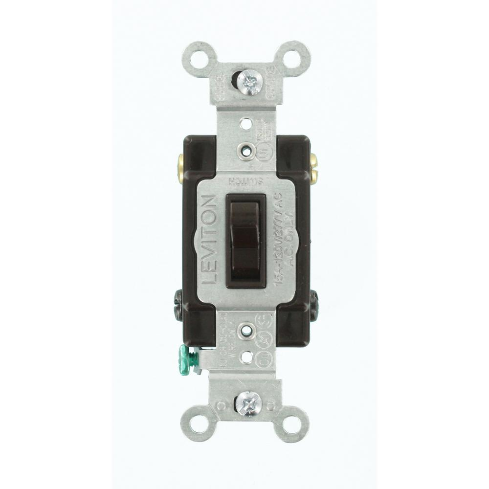 15 Amp Commercial Grade 4-Way Toggle Switch, Brown