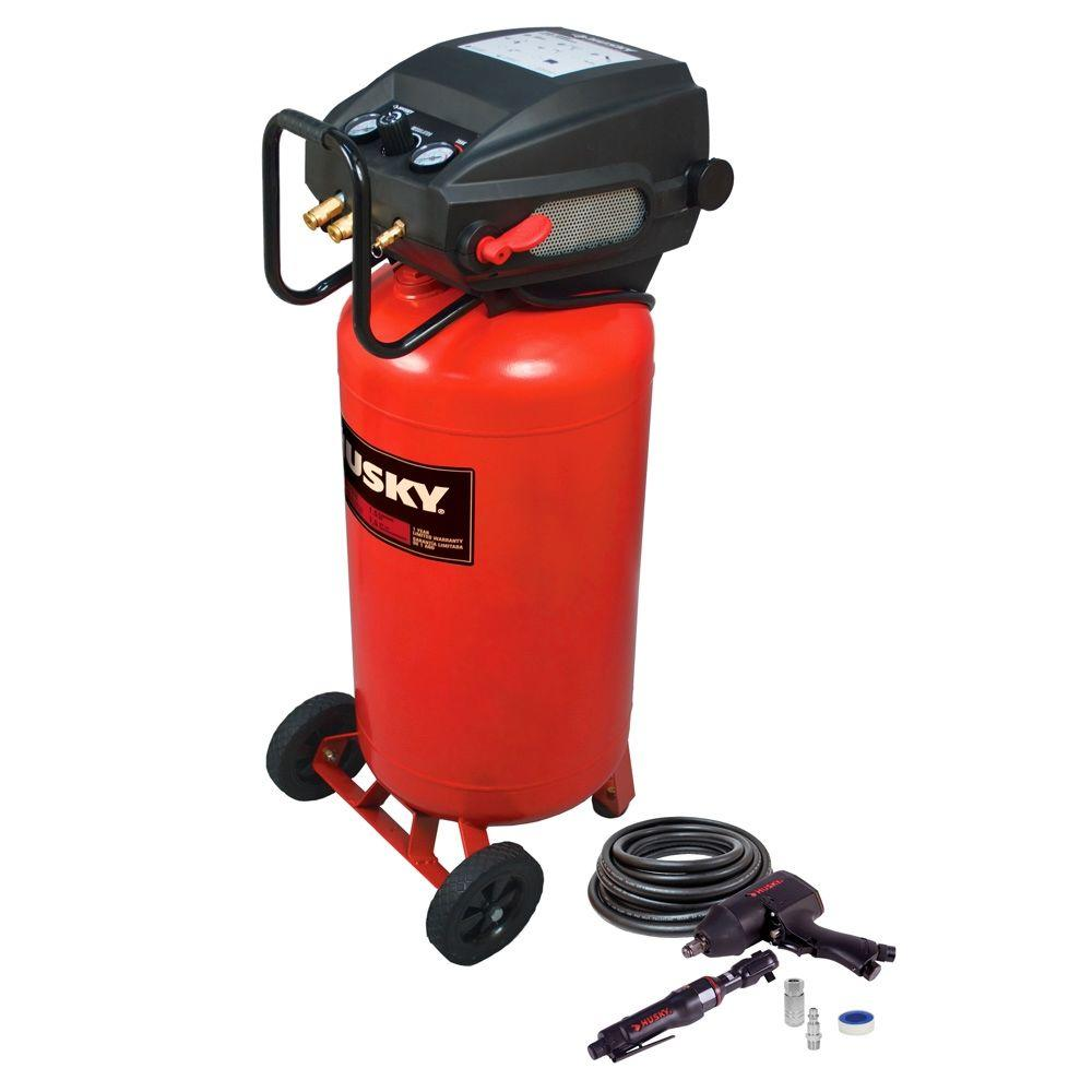 Husky 26 gal. Portable Electric Air Compressor with 2 Air Tools
