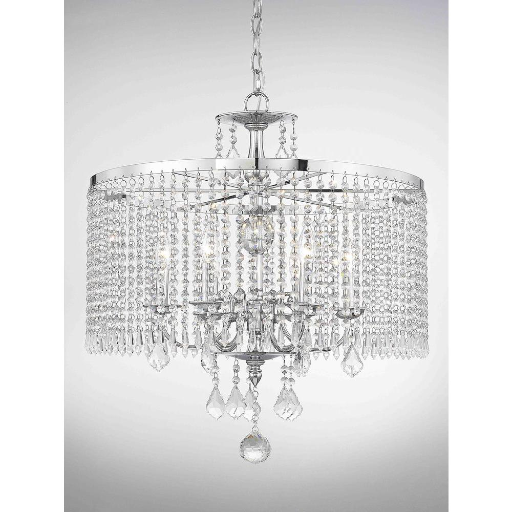 Fifth and Main Lighting 6-Light Polished Chrome Chandelier with K9 Crystal Dangles