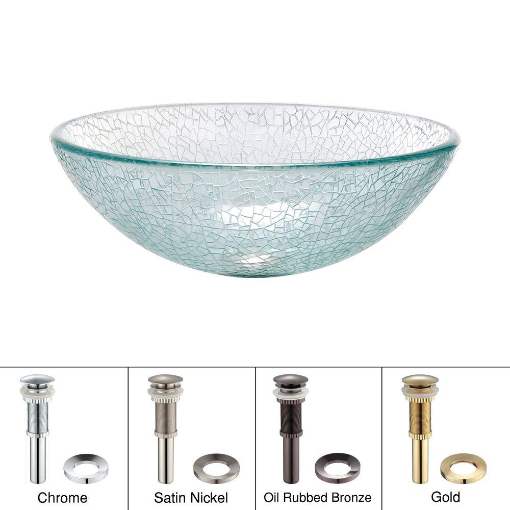 KRAUS Mosaic Glass Vessel Sink in Clear in Clear with Pop-Up