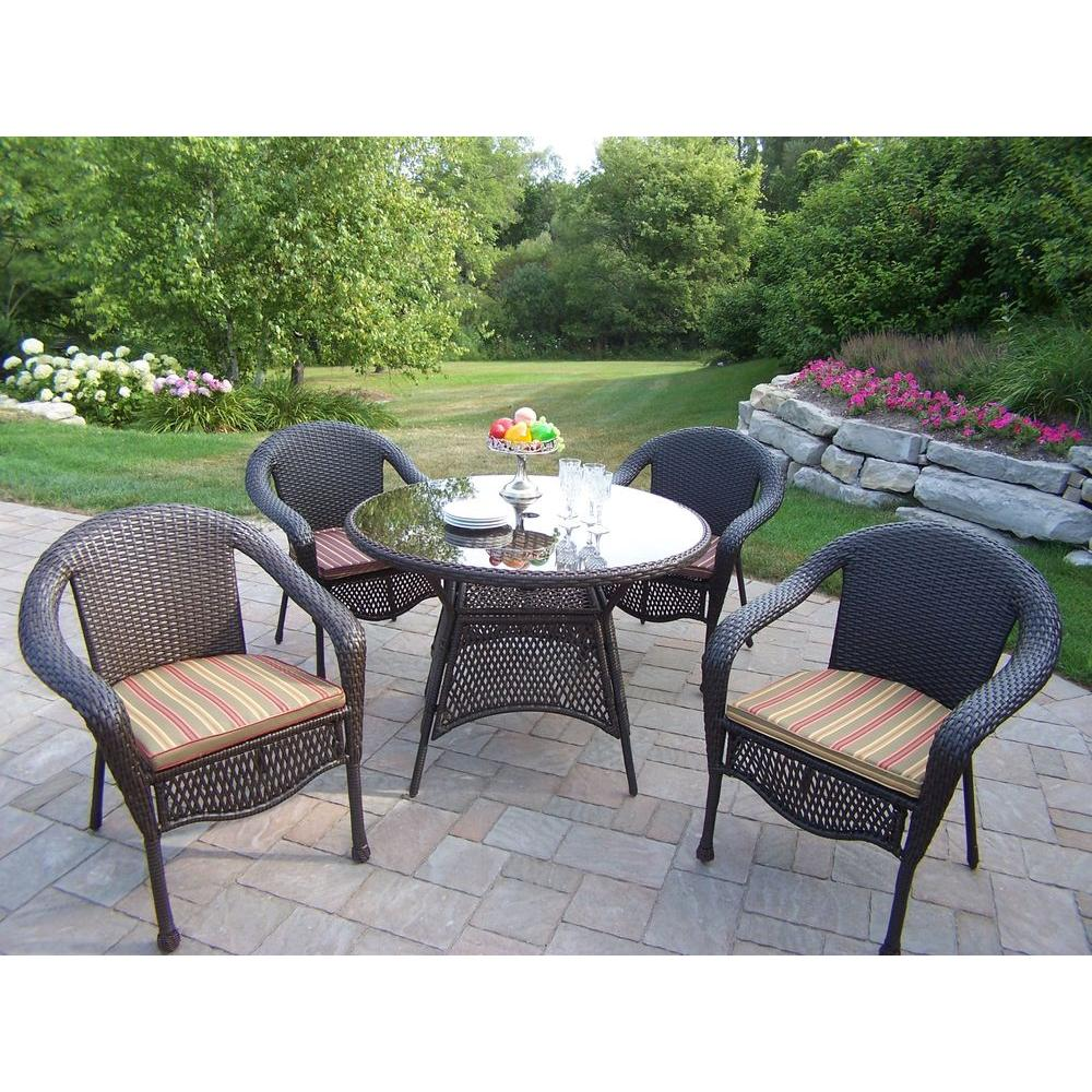 Oakland Living Elite Resin Wicker 5 Piece Patio Dining Set with Cushions