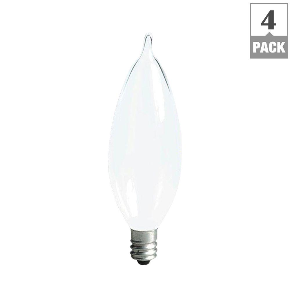 GE 60-Watt Incandescent CA10 Bent Tip Decorative Candelabra Base Double Life Soft White Light Bulb (4-Pack)