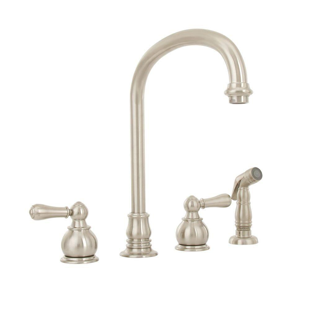 Hampton 2-Handle Standard Kitchen Faucet with Side Sprayer in Brushed Nickel
