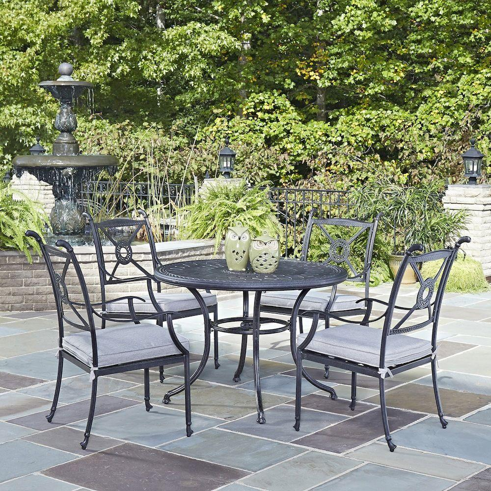 Athens Charcoal 5-Piece All-Weather Cast Aluminum Patio Dining Set with Cushions