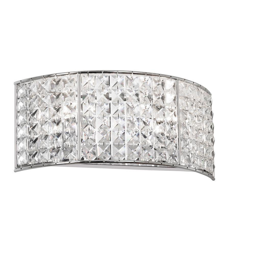 Mila 2-Light Polished Chrome Vanity Light with Crystals
