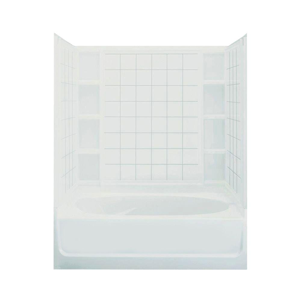 STERLING Ensemble 42 in. x 60 in. x 72 in. Standard Fit Bath and Shower Kit in White