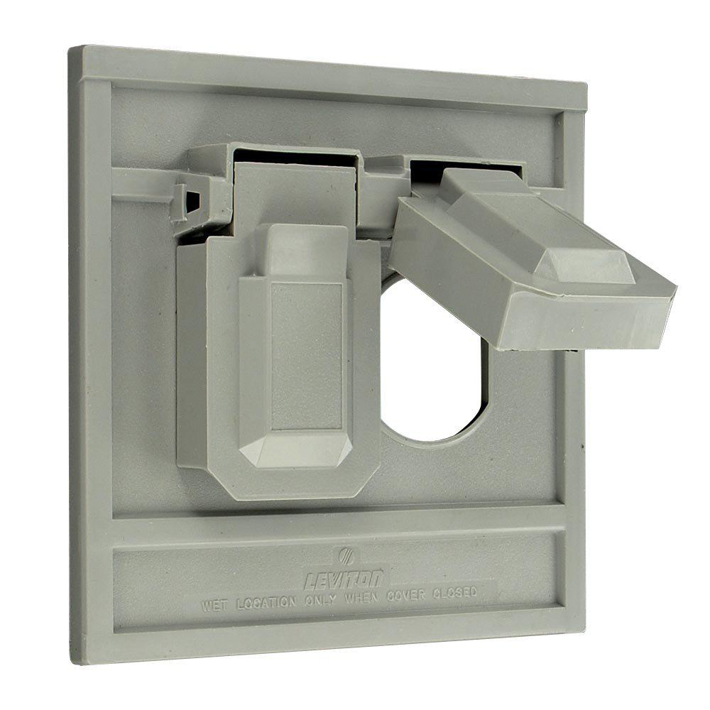 1-Gang Oversized Raintight Weather Resistant Duplex Receptacle Horizontal Mount