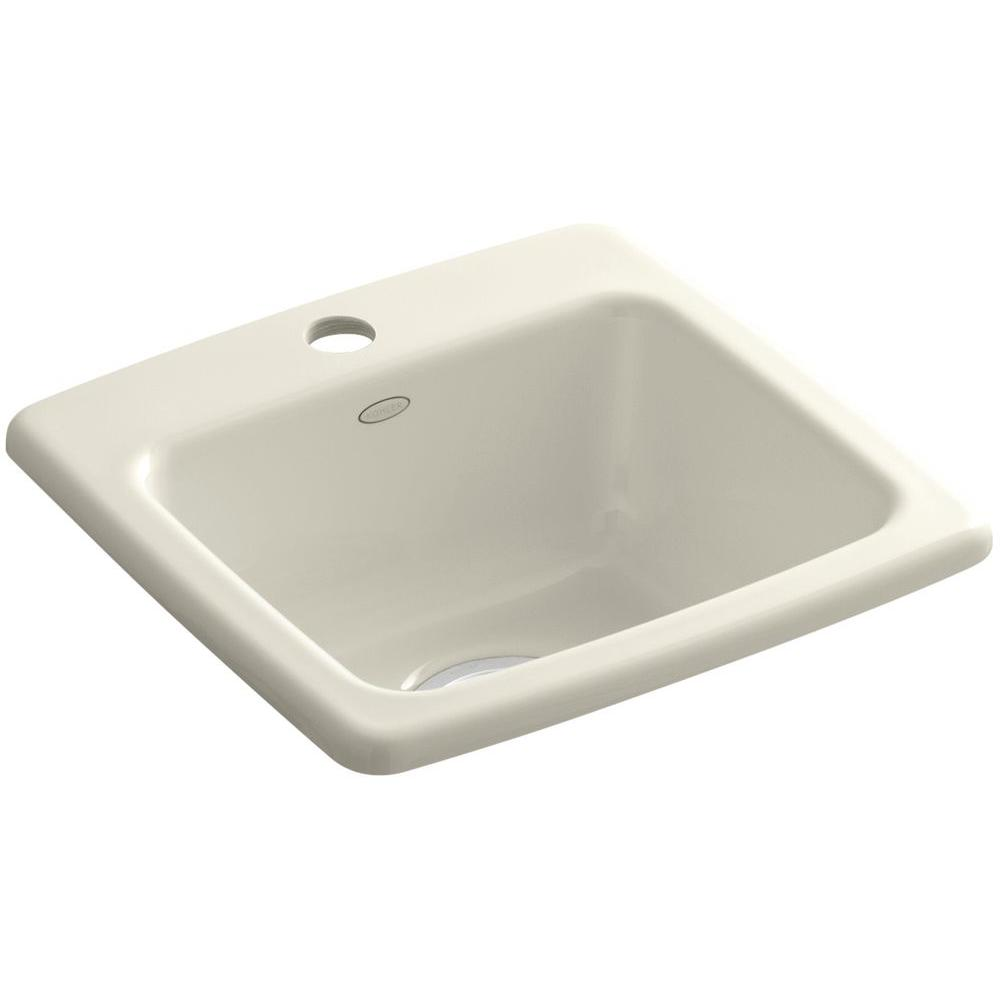 KOHLER Gimlet Drop-In Acrylic 15 in. 1-Hole Single Bowl Bar Sink in Biscuit