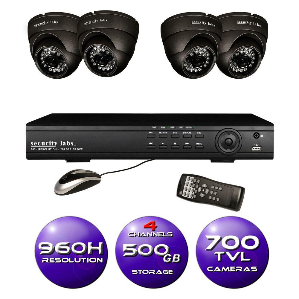 Security Labs 4-Channel 960H Surveillance System with 500GB HDD and (4) 700 TVL Dome Cameras