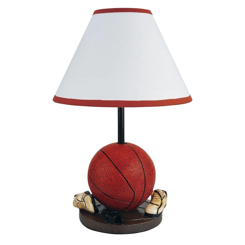 ORE International 15 in. Basketball Orange and Brown Accent Lamp