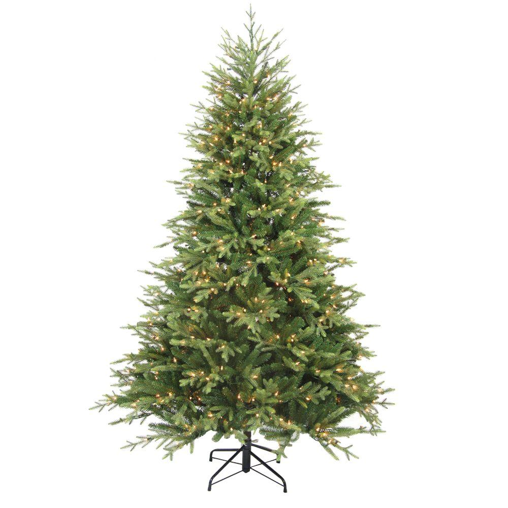 7.5 ft. Pre-Lit Balsam Artificial Christmas Tree with 600 Always-Lit Clear Lights and On/Off Foot Pedal Switch, Greens