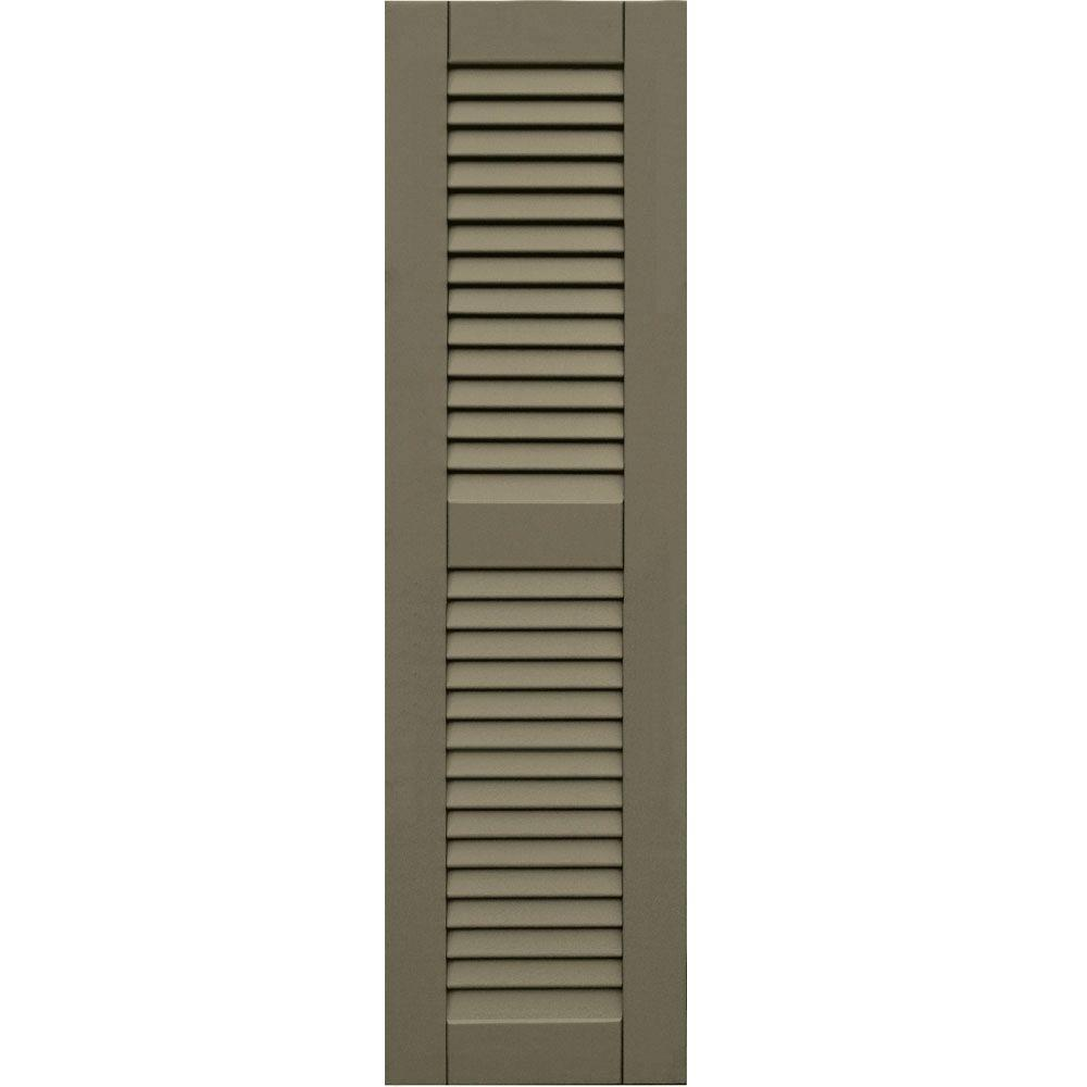 null Wood Composite 12 in. x 43 in. Louvered Shutters Pair #660 Weathered Shingle