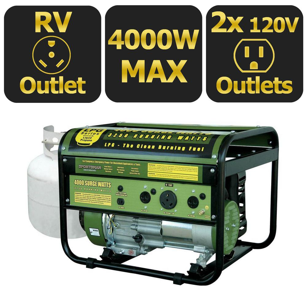 Sportsman 4,000-Watt Clean Burning LPG Propane Gas Powered Portable Generator with RV Outlet
