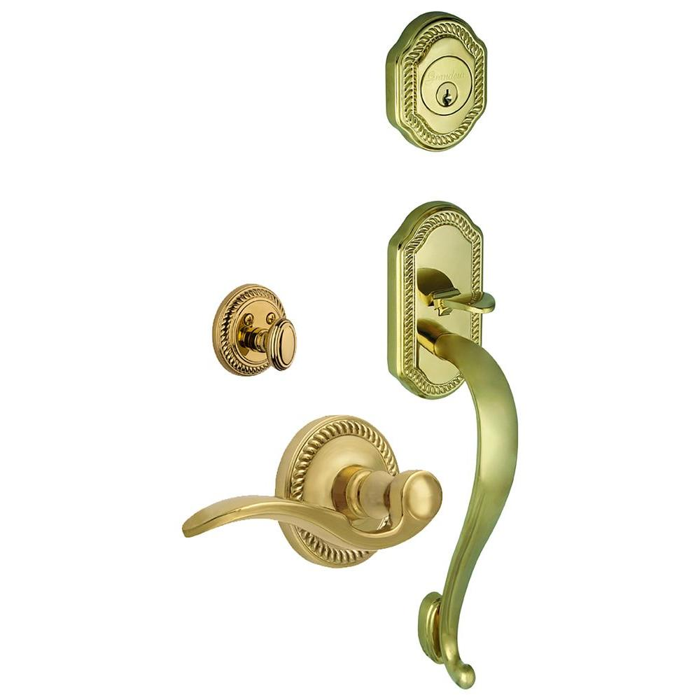 Grandeur Newport Single Cylinder Lifetime Brass S-Grip Handleset with Right