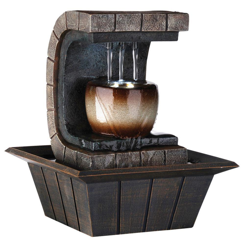 ORE International 9.75 in. Meditation Earth Tone Fountain with LED Light