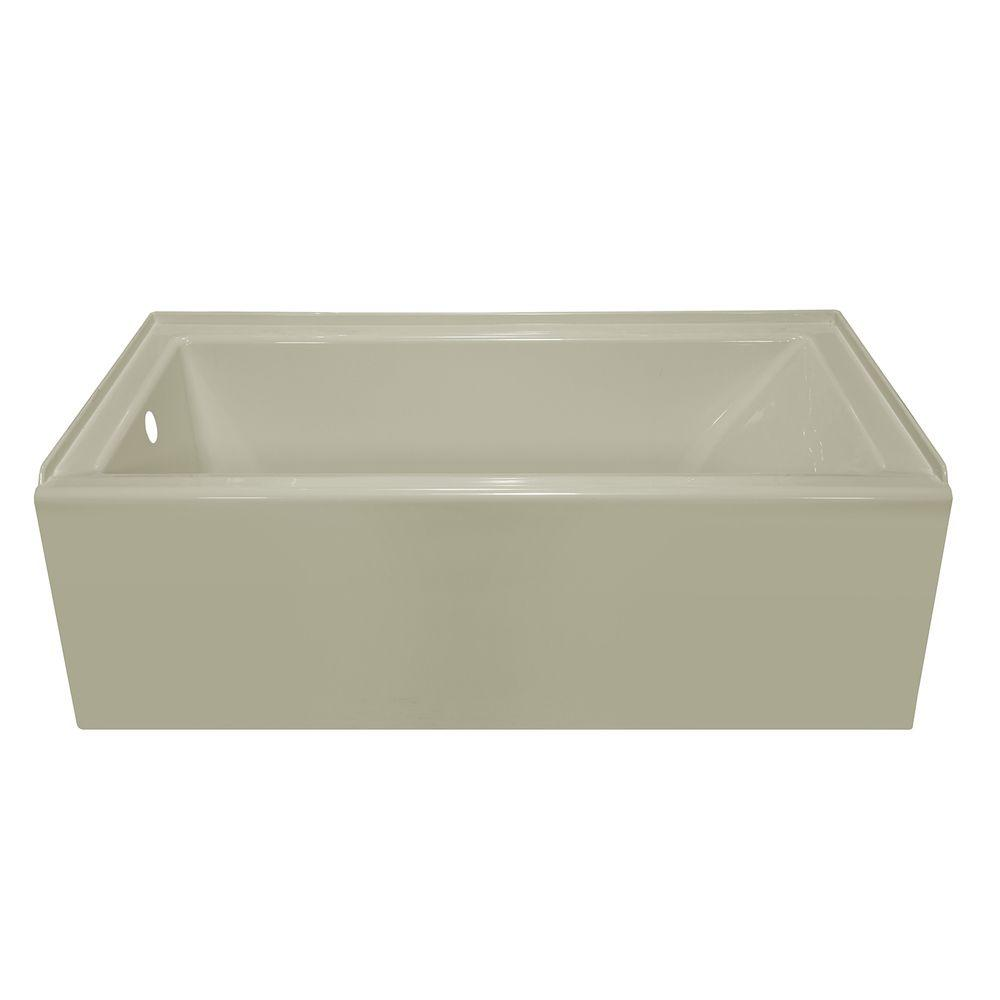 Lyons Industries Linear 5 ft. Left Drain Soaking Tub in Biscuit
