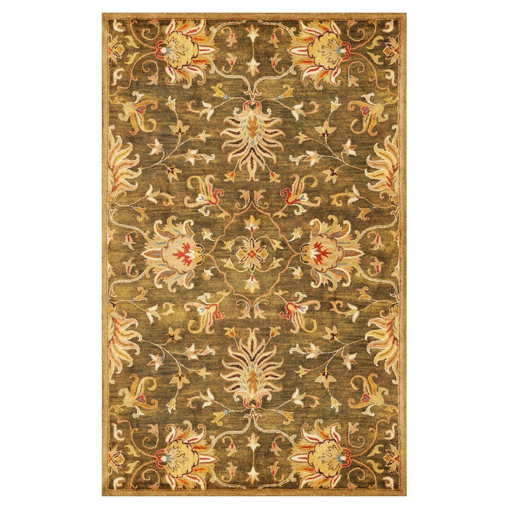 Kas Rugs Touch of Agra Green 5 ft. x 8 ft. Area Rug