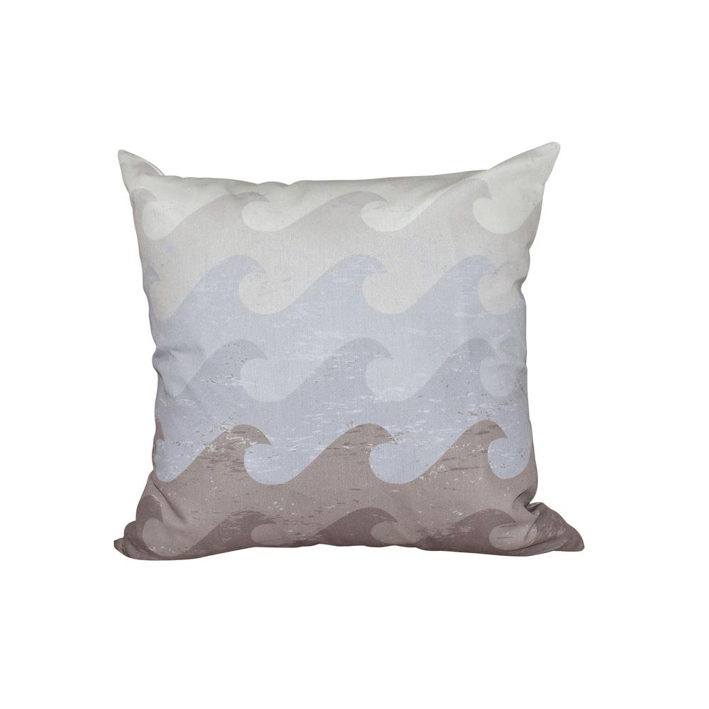 16 in. x 16 in. Gray and Taupe Deep Sea Geometric