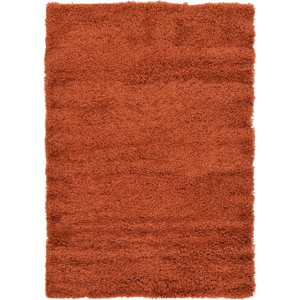 Linoleum Rug Turquoise Terracotta Area Rug Or Kitchen Mat: Unique Loom Solid Shag Terracotta 4 Ft. X 6 Ft. Area Rug