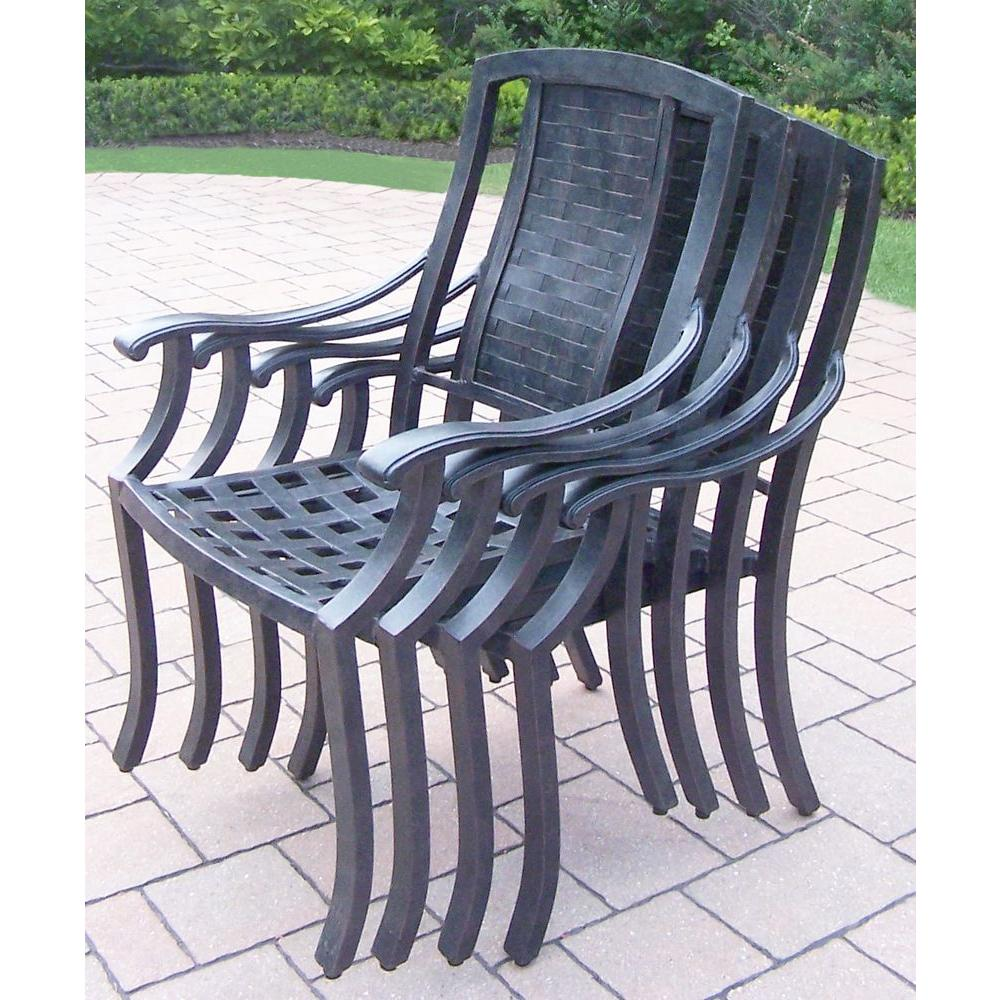 Stackable Aluminum Patio Chairs oakland living vanguard aluminum patio dining chair (4-pack