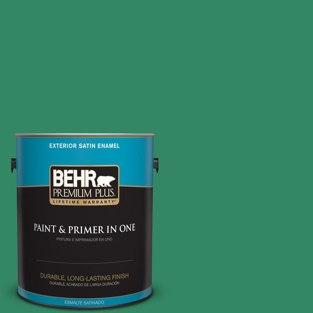1-gal. #P420-6 Exquisite Emerald Satin Enamel Exterior Paint