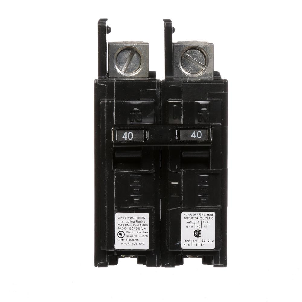 40 Amp 2-Pole Type BQ 10 kA Lug-In/Lug-Out Circuit Breaker with
