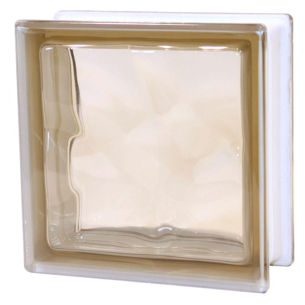 TAFCO WINDOWS 7-1/2 in. x 7-1/2 in. x 3-1/8 in. Wave Pattern Brown Color Glass Block 5/CA