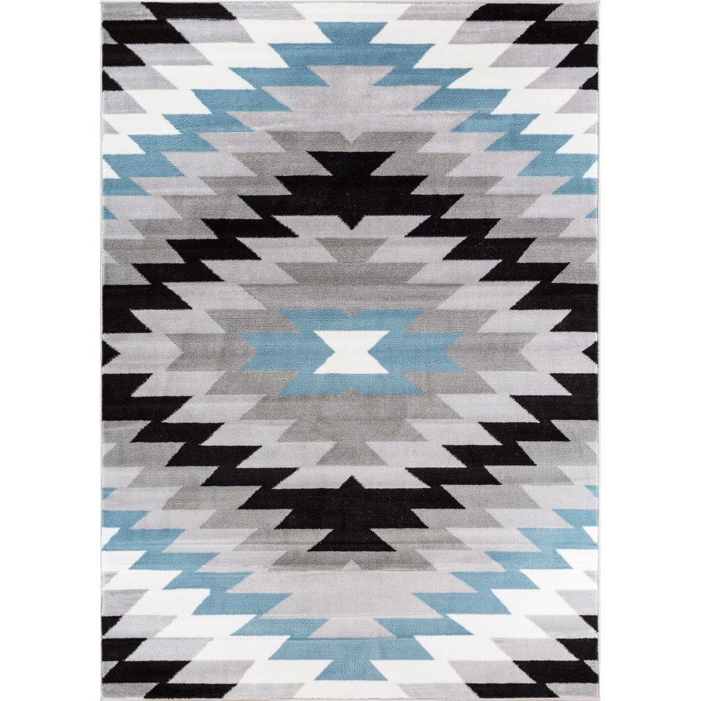 Well Woven Ash Navajo Grey 7 ft. 10 in. x 9