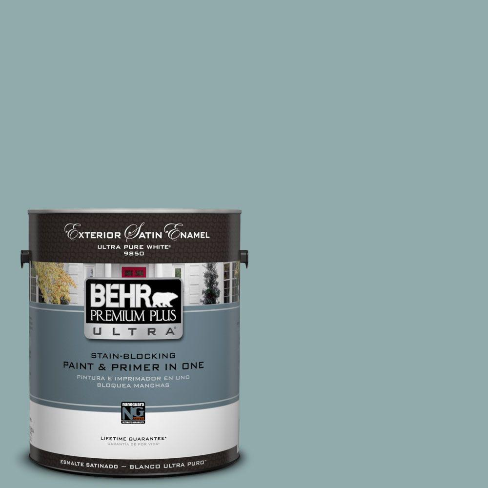 Interior Paint, Exterior Paint & Paint Samples: BEHR Premium Plus Ultra Paint Home Decorators Collection 1-gal. #hdc-CL-25 Oceanus Satin Enamel Exterior Paint 985401