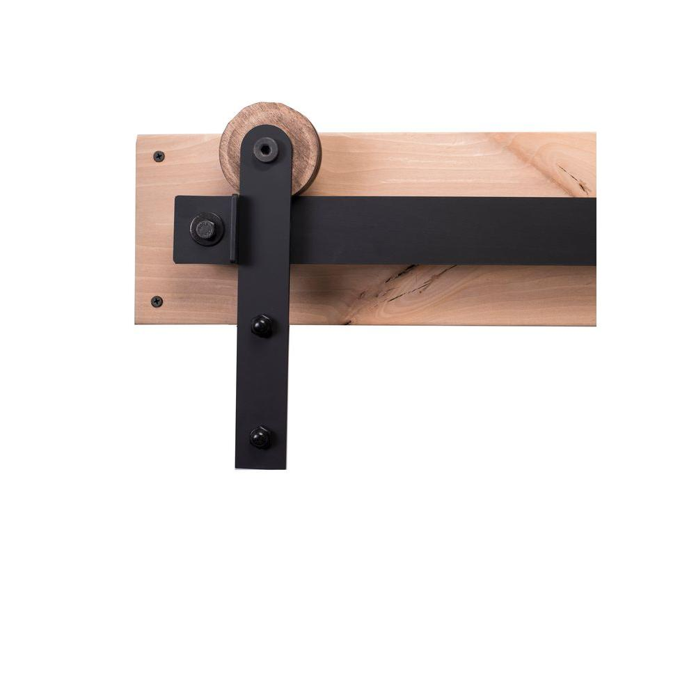 Rustica hardware 84 in flat black sliding barn door hardware kit with modern hangers and falcon - Barn door track hardware home depot ...