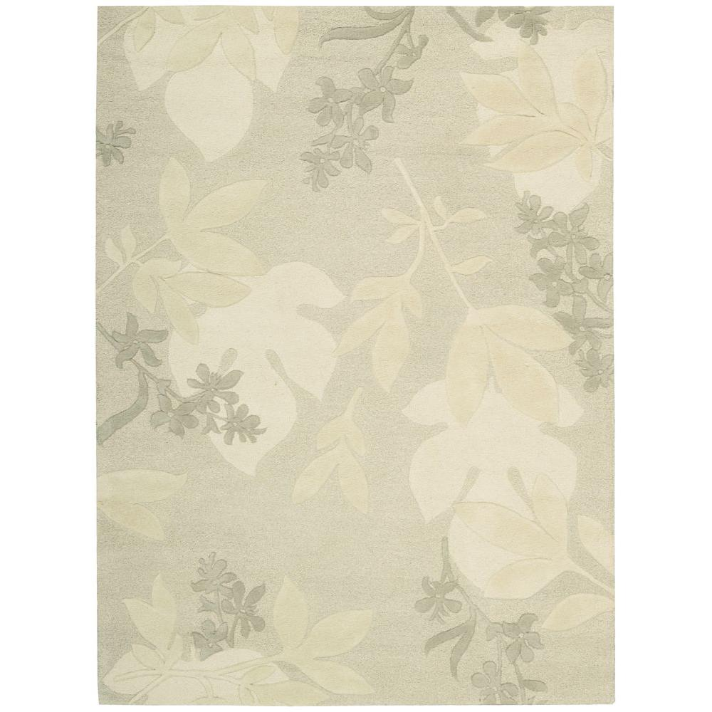 Nourison Overstock Shadow Leaves Grey 5 ft. 6 in. x 7 ft. 5 in. Area Rug