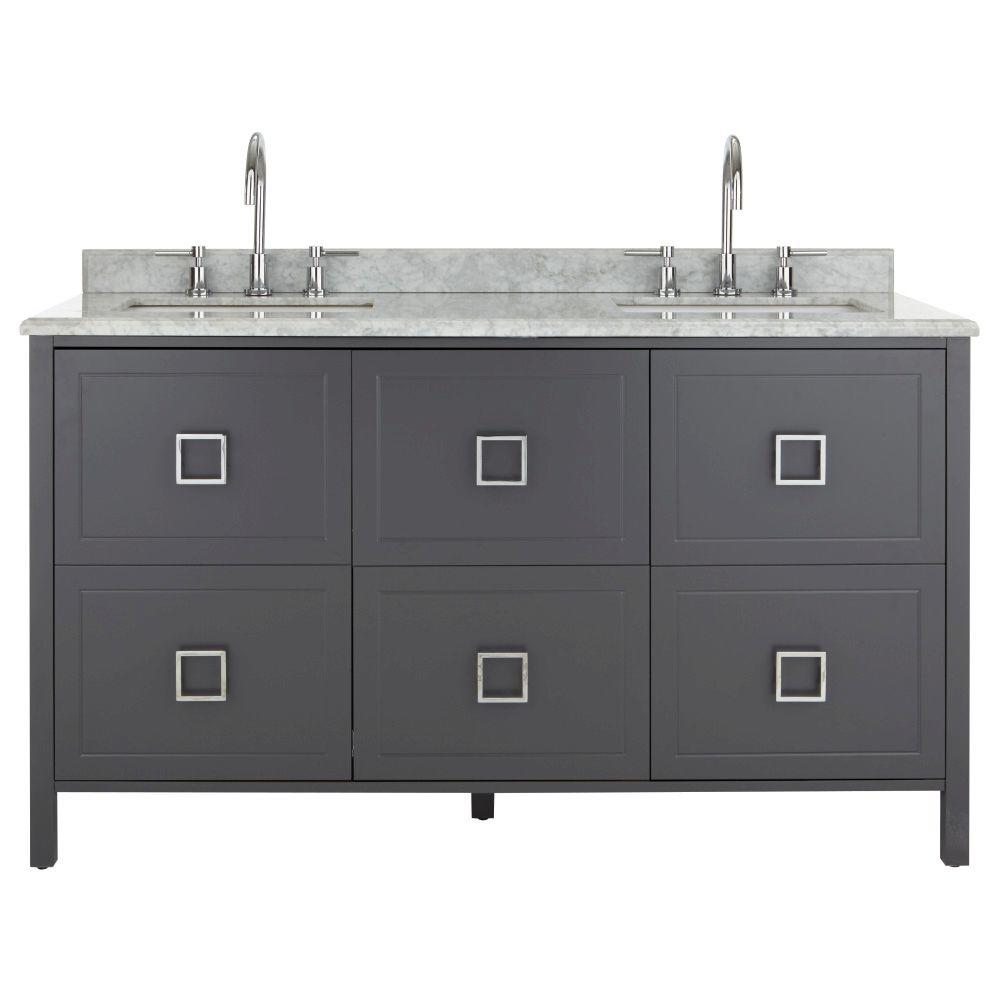 Drexel 60 in. W Vanity in Charcoal with Natural Marble Vanity
