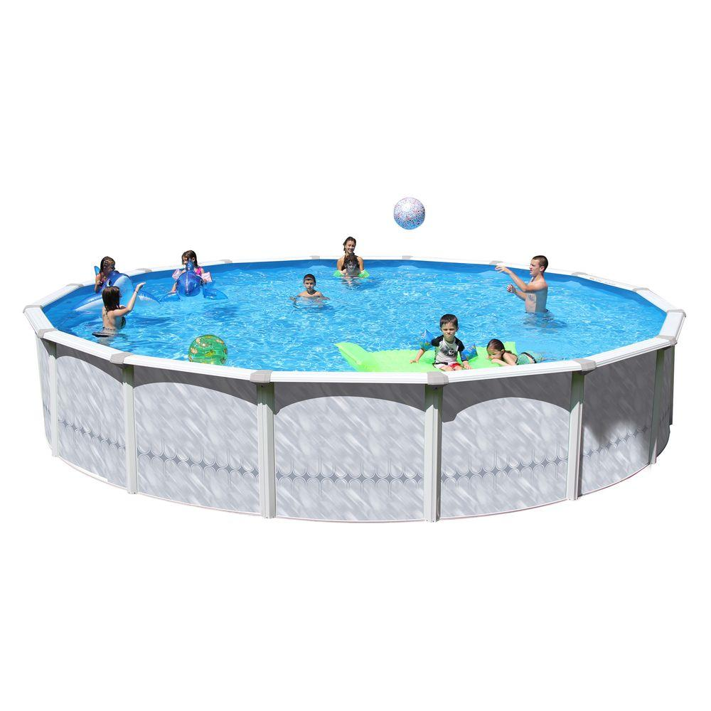 Heritage pools taos 18 ft x 52 in round pool package ta for Rectangle above ground pool hard sided
