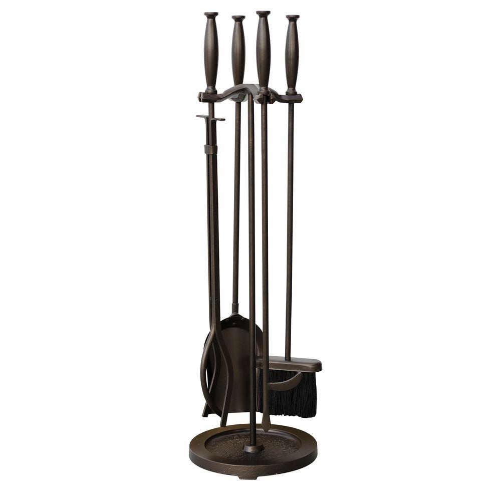 UniFlame Bronze 5-Piece Fireplace Tool Set with Cylinder Handles-F-1665 - The