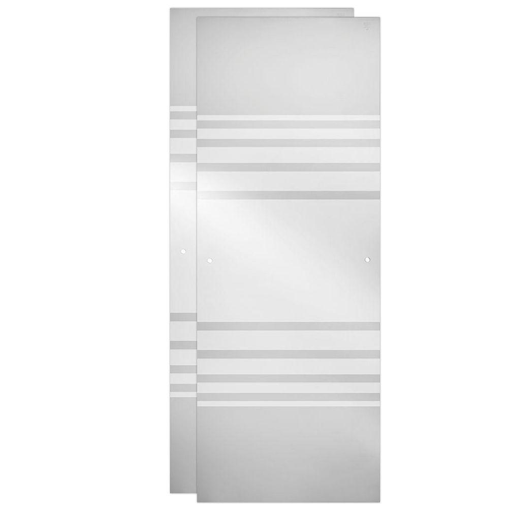48 in. Sliding Shower Door Glass Panels in Transition (1-Pair)