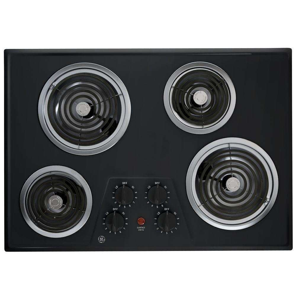 30 in. Coil Electric Cooktop in Black with 4 Elements