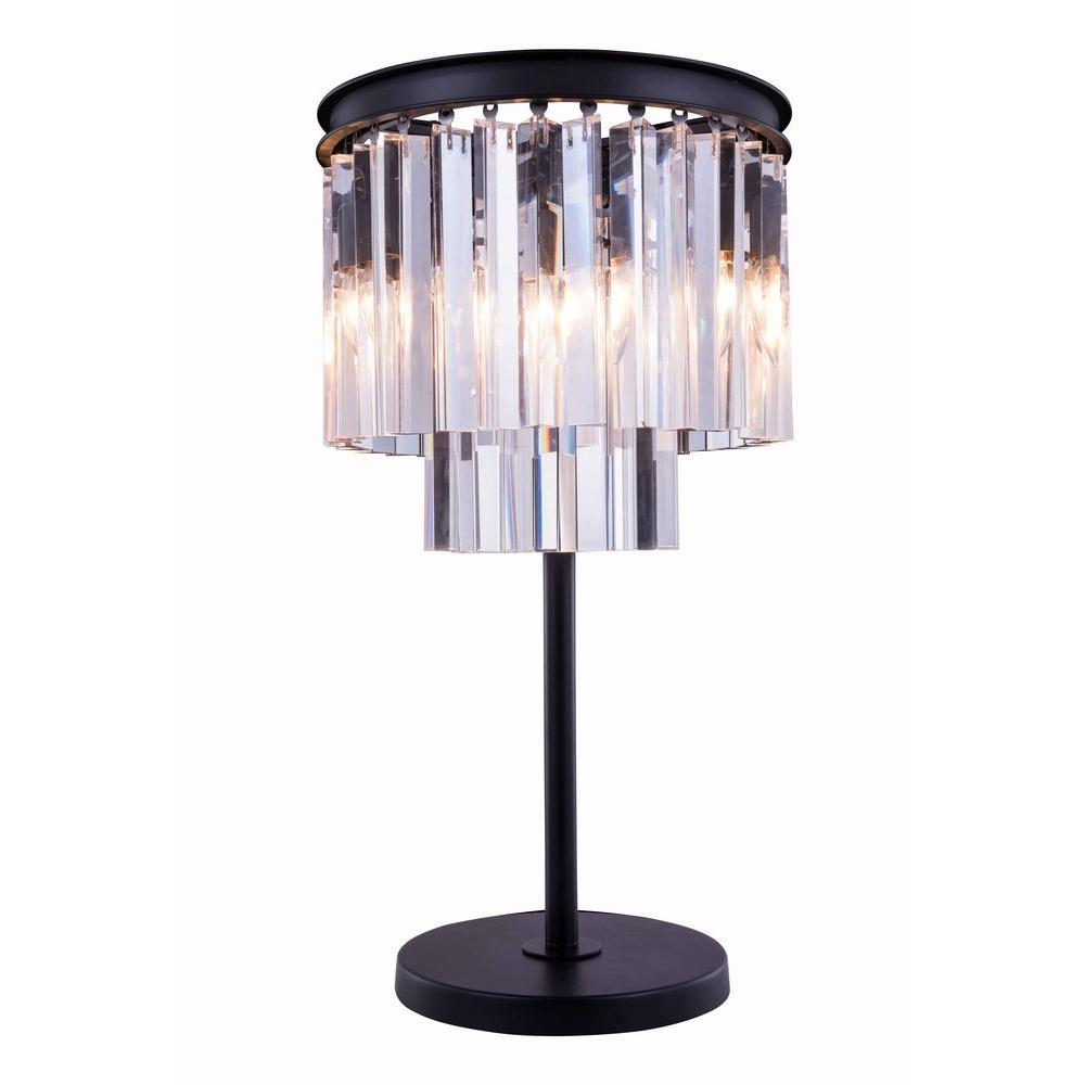 Sydney 26 in. Mocha Brown Table Lamp with Clear Crystal
