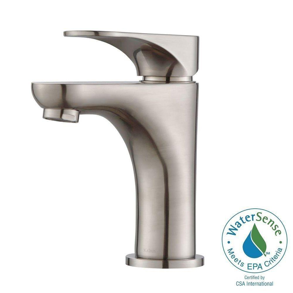KRAUS Aquila Single Hole Single-Handle Basin Bathroom Faucet in Brushed