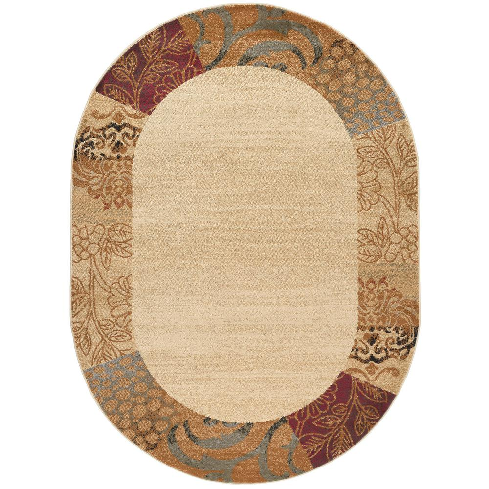 Tayse rugs elegance beige 6 ft 7 in x 9 ft 6 in oval for 7 x 9 dining room rugs